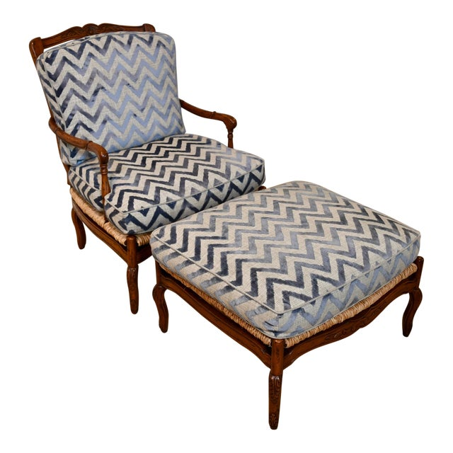 Fremarc Design Robert Allen Modern Oversized Contemporary French Bergere Upholstered Club Lounge Chair& Ottoman in Blue / Grey Geometric Zebra Pattern For Sale