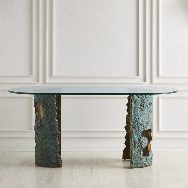 Bronze Brutalist Dining Table by Valenti Madrid For Sale - Image 4 of 13