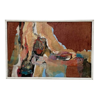 Circa 1970s California Modernist Abstract Mixed-Media Painting, Framed, Signed Altman For Sale