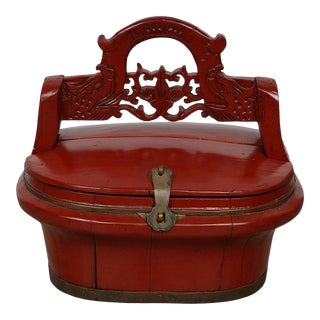 Antique Chinese Red Lacquered Lunch Box For Sale