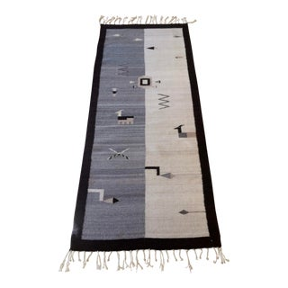 1990s Mexican Wool Zapotec Runner Rug - 3′ × 7′11″ For Sale
