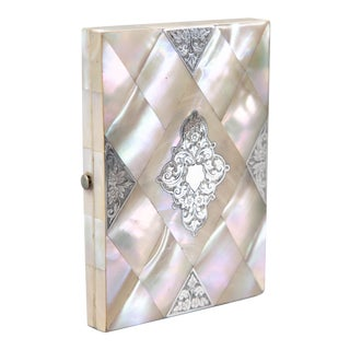 Antique English Mother of Pearl & Silver Calling Card Case For Sale
