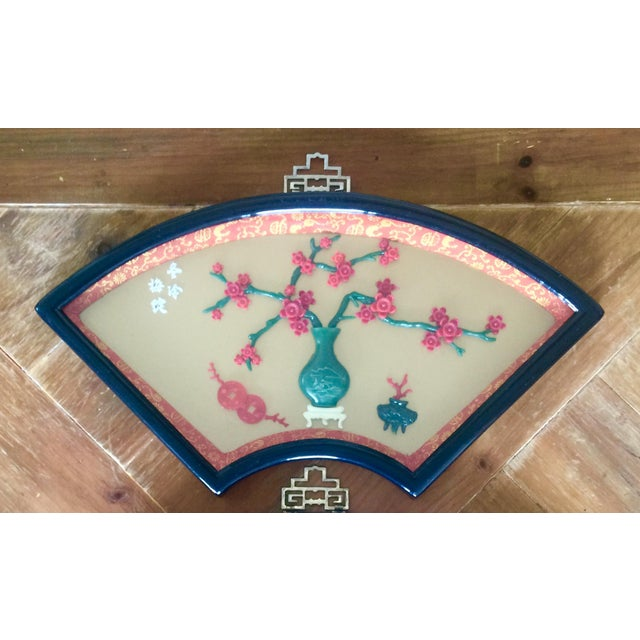 Chinese Art Fan Shadow Box/Diorama - Set of 3 For Sale - Image 4 of 10