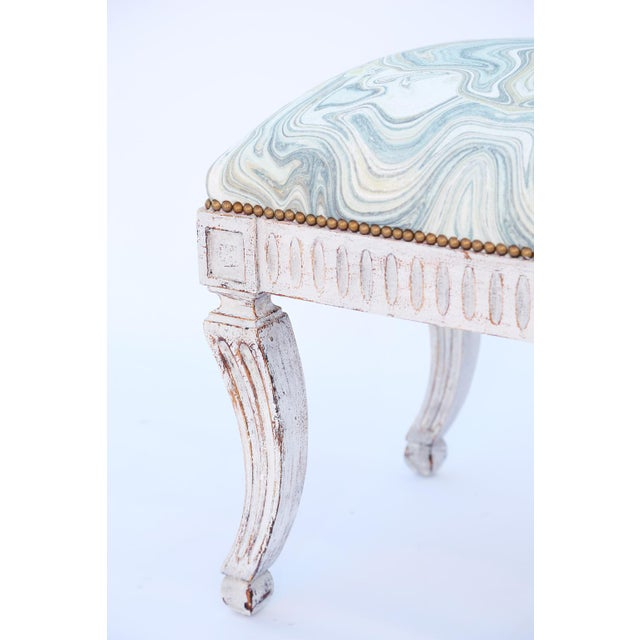Neoclassical Painted Neoclassical Stool With Crown Seat For Sale - Image 3 of 7