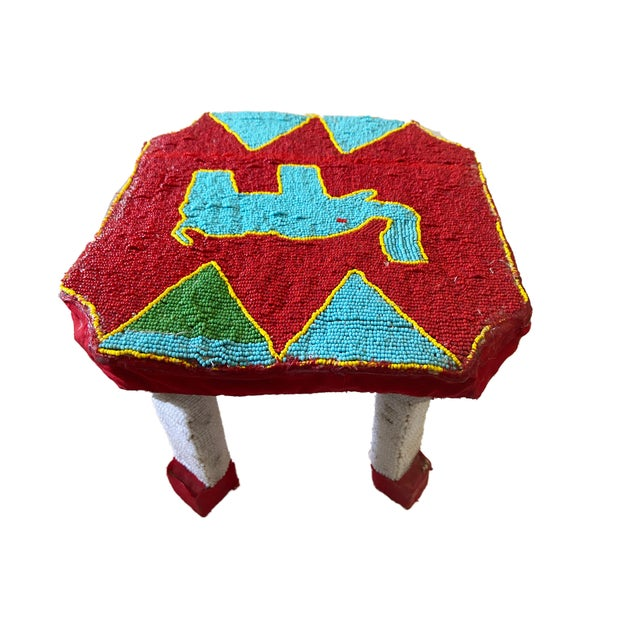 """African Yoruba Beaded Low Stool Nigeria 8.5"""" H For Sale - Image 4 of 6"""