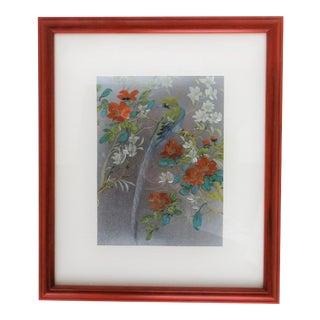 Iridescent Art Print with Asian Phoenix & Floral Design