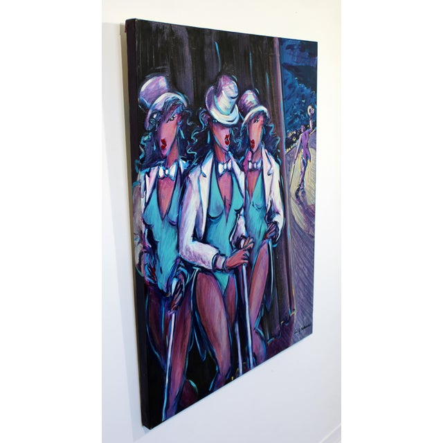 Contemporary Contemporary Memphis Style Acrylic Painting Signed 3 Graces Backstage 1980s For Sale - Image 3 of 7