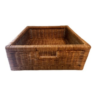 Vintage Natural Wicker Tray For Sale