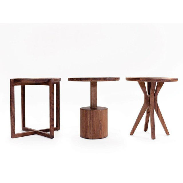 Contemporary Boton One Side Table in Conacaste Solid Wood For Sale - Image 3 of 7