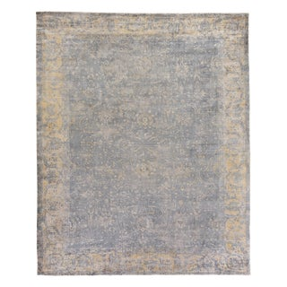 Newport Silver/Ivory Hand loom Bamboo/Silk Area Rug - 12'x15' For Sale