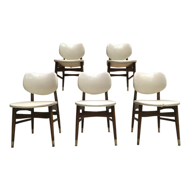 Mid-Century Modern Thonet Style Walnut and Vinyl Dining Chairs by Shelby Williams - Set of 5 For Sale