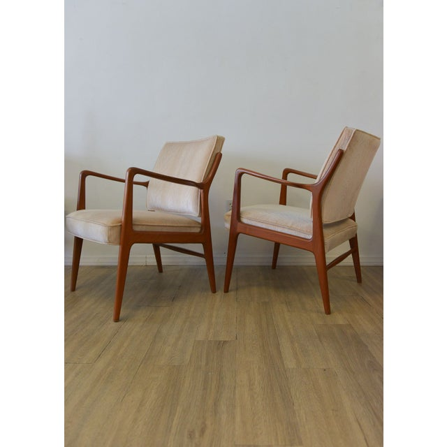 Danish Modern Lounge Chairs in Velvet - A Pair - Image 2 of 6