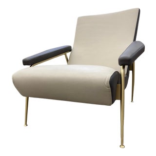 Molteni & C Fine Leather Armchair Model D.153.1 by Giò Ponti For Sale