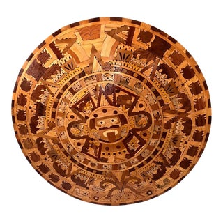 Exquisite Mosaic Inlaid Mayan/Aztec Wooden Round Calendar 40.5 Inches For Sale