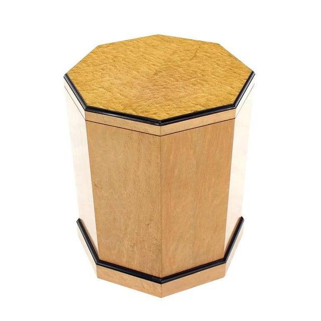 Birds Eye Maple Side Table Pedestal For Sale - Image 9 of 9