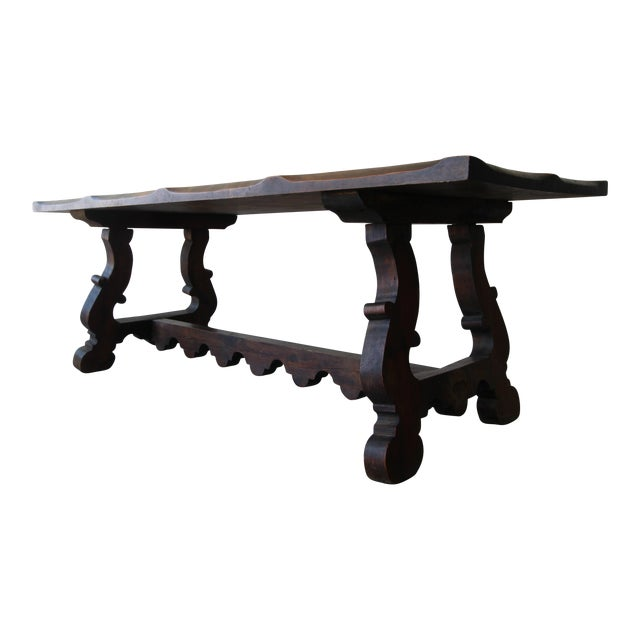Antique Spanish Industrial Farm Style Trestle Dining Table For Sale