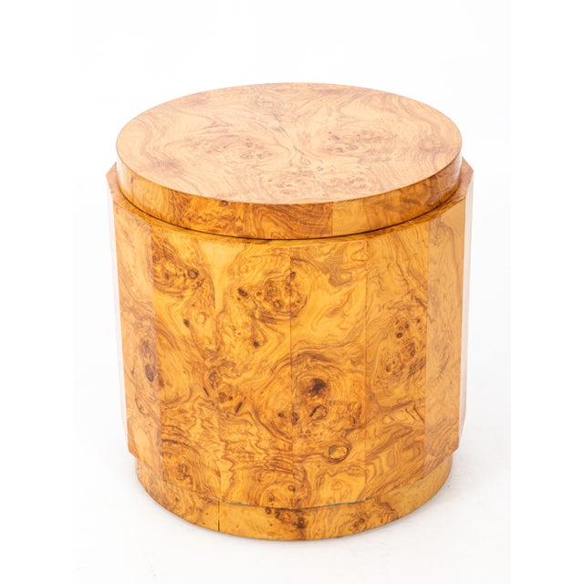 Mid-Century Modern Edward Wormley for Dunbar Burl Olive Wood Side Table For Sale - Image 9 of 9