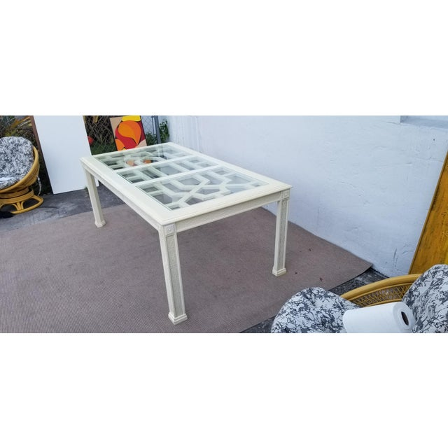 Glass 1960's Vintage Palm Beach Hollywood Regency Dining Table For Sale - Image 7 of 13
