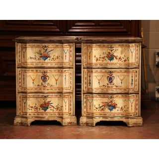 Pair of 19th Century Italian Carved Chests of Drawers With Bird Painted Decor Preview