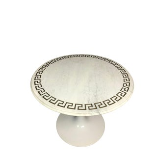 Greek Key Marble Top Table 1970s Vintage For Sale