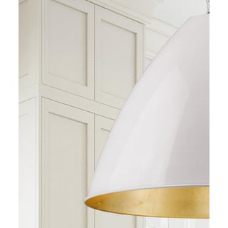Lenox 1 Light Rod Pendant, Ceramic White and Gold Leaf Preview