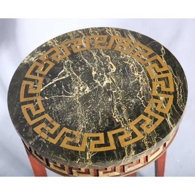 Greek Key Carved Accent Table - Image 2 of 10
