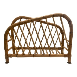 Vintage Bamboo Magazine Rack For Sale