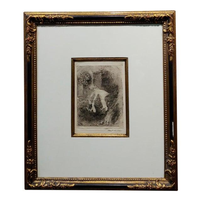 Armand Berton - Mother & Child - Original Etching -C1900s For Sale