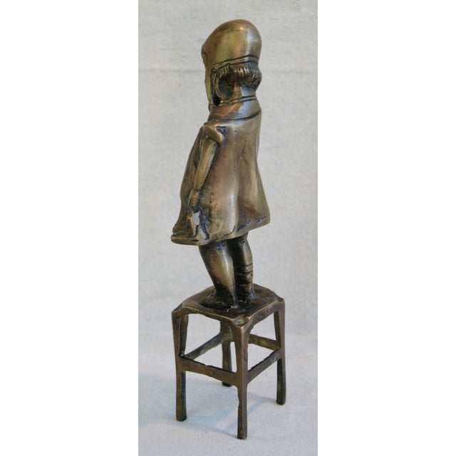 Vintage Juan Clara Style Bronze Girl on Chair For Sale - Image 5 of 6