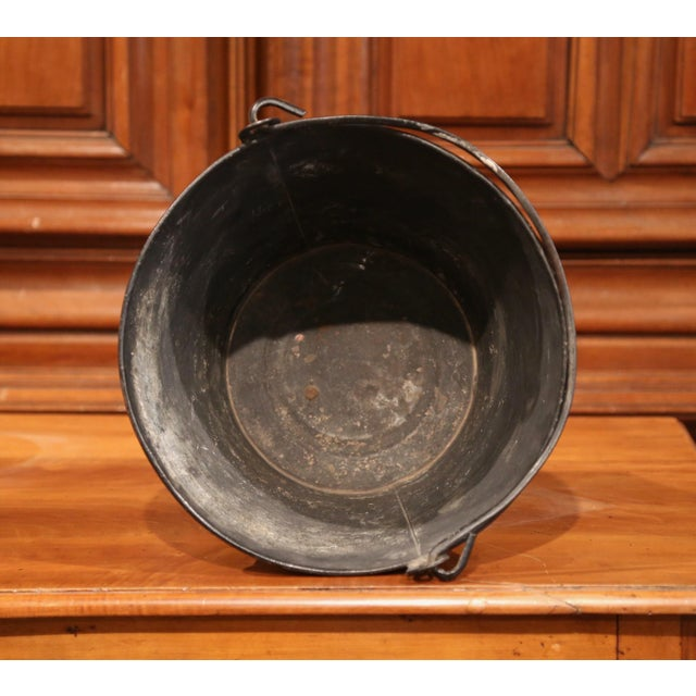 Metal 19th Century French Directoire Hand-Painted Black and White Tole Basket Planter For Sale - Image 7 of 9