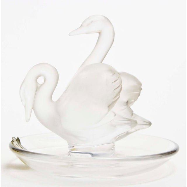"Lalique Two Swans Crystal Ring/Pin Tray Two Frosted Swans (Deux Cygnes) With Clear Crystal Tray 3.5"" Diameter x 4.25"" High"