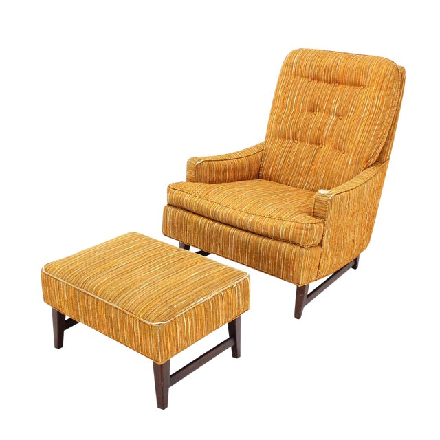 Selig Lounge Chair and Matching Ottoman with Upholstery For Sale