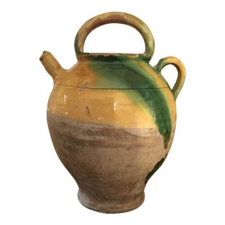 Antique French Yellow & Green Glazed Ceramic Terra-Cotta Gargoulette Water Jug Confit For Sale