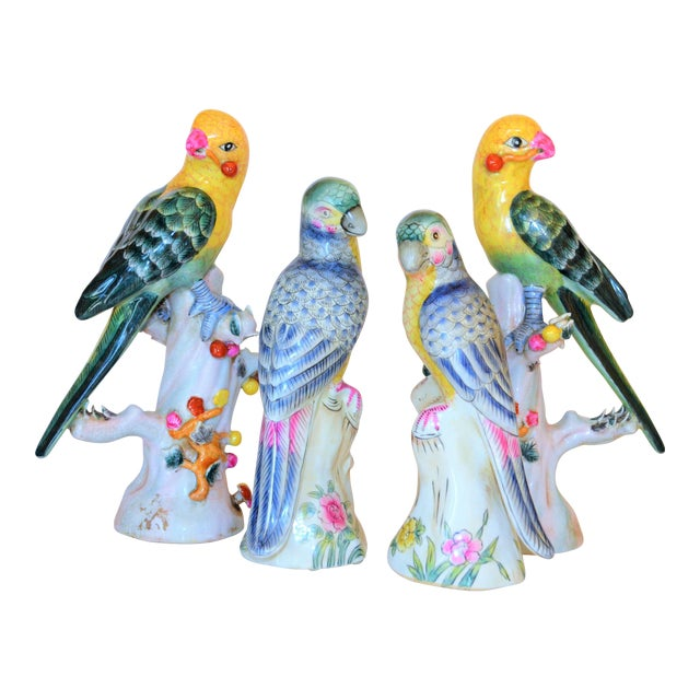 (Final Mark Down Taken) Chinese Export Porcelain Parrot Figurines - Set of 4 For Sale