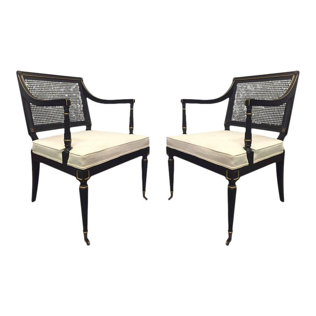 Pair of Maison Jansen Style Cane Armchairs For Sale