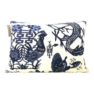 21st Century Design Legacy Newly Printed Belgium Linen Down Pillow For Sale