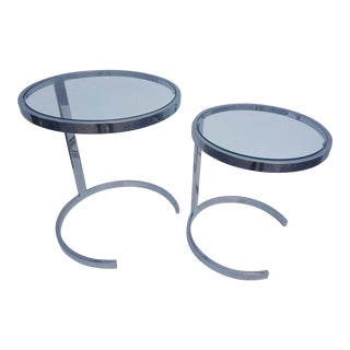 Milo Baughman Heavy Steel Flat Bar Chrome Nesting Tables Set Of -2