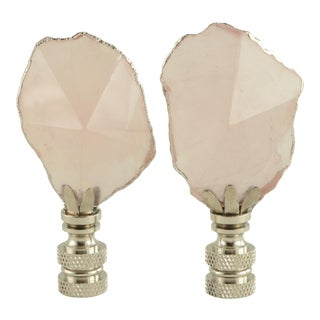 Ice Pink Silvered Quartz Lamp Finials - a Pair For Sale