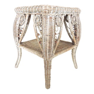 20th Century Boho Chic Distressed White Wicker Side Table For Sale