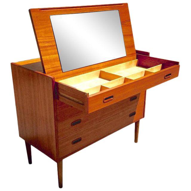 Danish Modern Teak Vanity Dresser For Sale