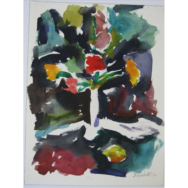 Original Floral Watercolor by George Daniell, 1990 - Image 3 of 3