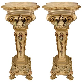 Pair of 1950s Painted and Carved Onyx Top Pedestals For Sale