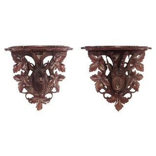 Black Forest Walnut Wall Shelves For Sale
