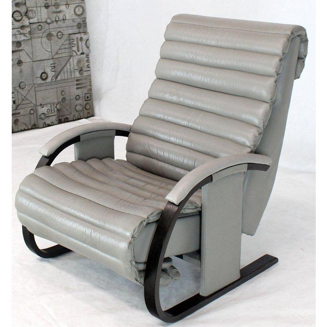 Pair of Leather Ribbed Upholstery Reclining Lounge Chairs Bent Wood Tank Style For Sale - Image 12 of 13