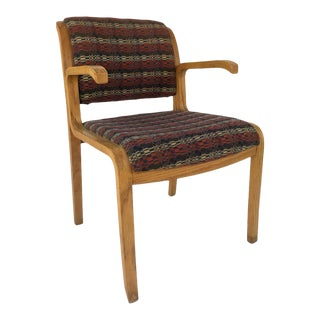 Thonet Bentwood Oak Upholstered Armchair, Circa 1970s For Sale