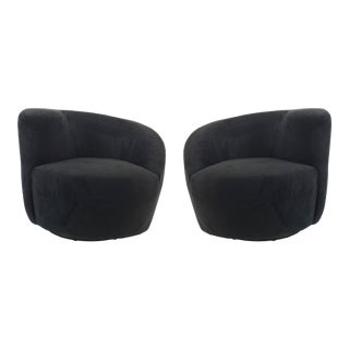 Contemporary Black Black Suede Swivel Chairs, Pair For Sale