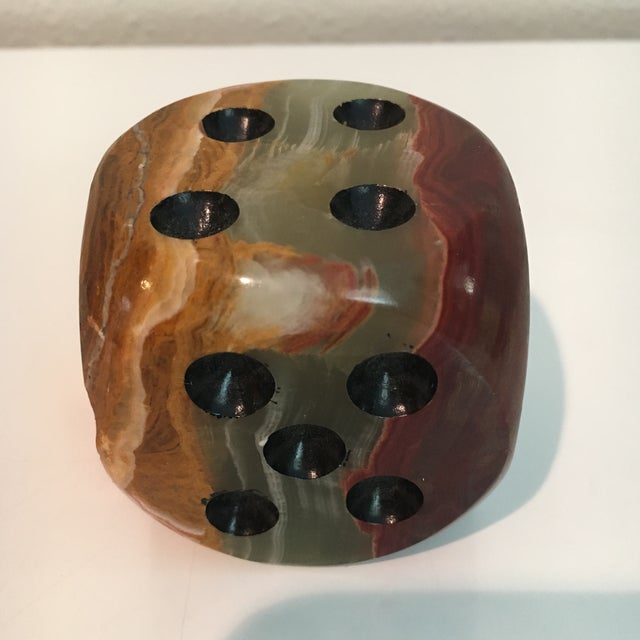 Oversized Alabaster Dice Paperweight For Sale - Image 4 of 5