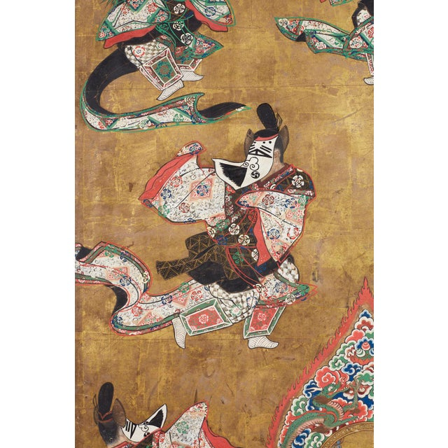 Japanese Edo Bugaku Imperial Court Dance Two-Panel Screen For Sale In San Francisco - Image 6 of 13