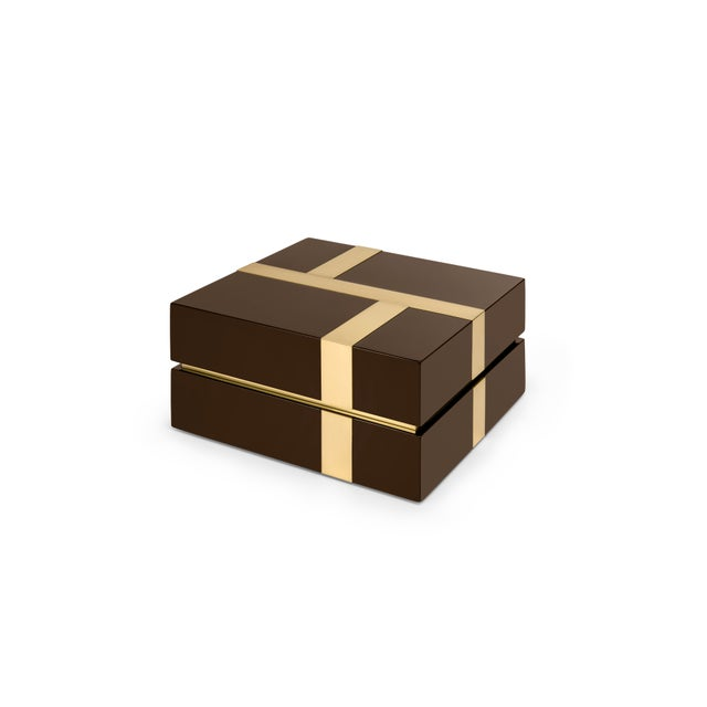 Contemporary Flair Home Collection Righe Box in Brown / Brass For Sale - Image 3 of 5