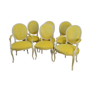 Baker French Louis XV Style Vintage Yellow & White Painted Set of 6 Dining Chairs